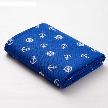 Полотенце вафельное банное экономь и я якоря 80х150 см, цв.синий, 150 гр/м
