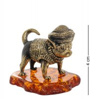 Am-1953 фигурка собака горошек (латунь, янтарь)