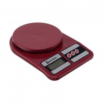Весы кухонные василиса ва-012, электронные, до 5 кг, бордовые