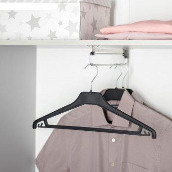 Вешалка-плечики для трикотажа и легкой одежды, размер 46-48 см, цвет чёрны