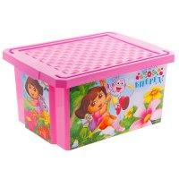 Ящик для игрушек даша путешественница 17 л, с крышкой, цвет розовый
