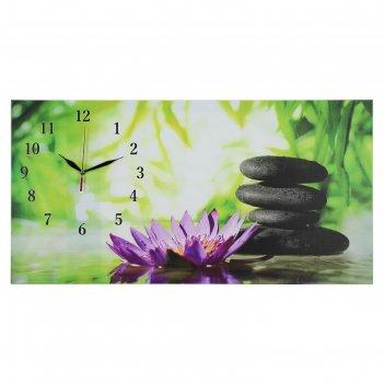 Часы настенные, серия: цветы, на холсте цветы и камни, 40х76  см, микс