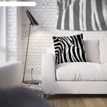 Наволочка декоративная принт зебра, 45 х 45 см, вшитая молния