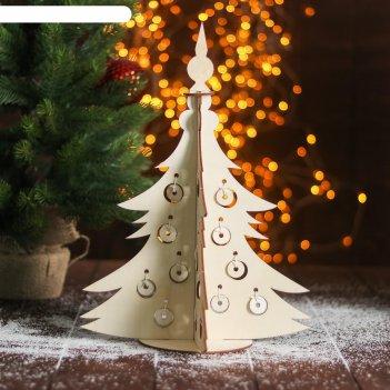 Сборная деревянная модель «новогодняя ёлка с игрушками»