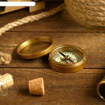 Компас латунь в чехле адмирал 7х7х3,2 см