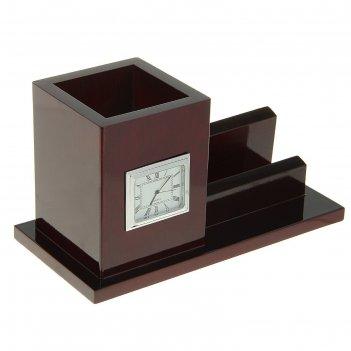 Набор настольный «классика»: визитница, часы, подставка для ручек