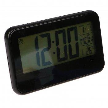 Часы-будильник электронные, подсветка, дни недели, чёрные, 9.5х15.5 см