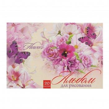 Альбом для рисования а4, 20 листов на скрепке магия цветов, обложка картон