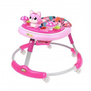 Ходунки детские «котёнок», прорезиненные колёса, музыкальные и световые эф