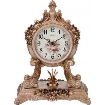 Часы настольные кварцевые золотые цветы 27,5*16,5*37 см. диаметр циферблат