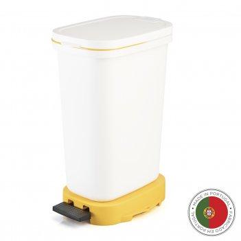 Мусорный бак с педалью be-eco 20л, белый-желтый