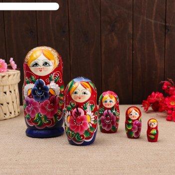 Матрёшка 5-ти кукольная настя ромашки , 17-18см, ручная роспись.