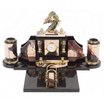 Настольный набор орлиная голова яшма бронза 520х360х270 мм 19 кг.