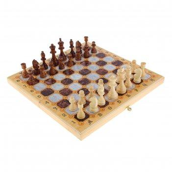 Настольная игра 3 в 1 мрамор: шахматы, шашки, нарды (доска дерево 40х40 см