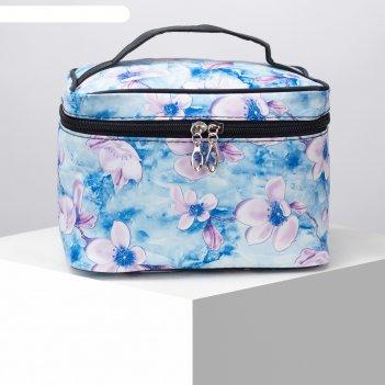 Косметичка-сумочка, отдел на молнии, с зеркалом, цвет голубой