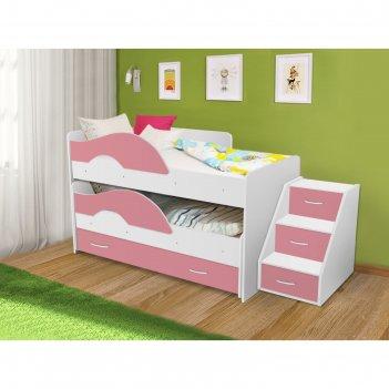 Кровать двухъярусная выкатная матрешка розовый/белый 800х1600 с ящиком и л