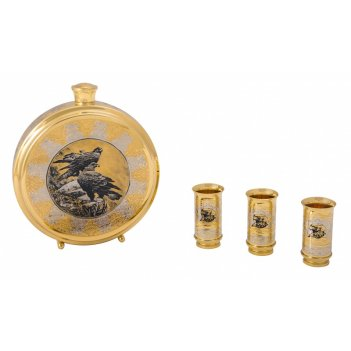 Набор охотничий ястреб  (фляга большая, 3 стопки) златоуст