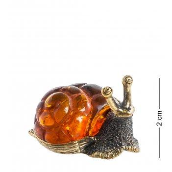 Am-1351 фигурка улитка с домиком (латунь, янтарь)