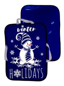 Мт11617 сани-ледянка прямоугольная снеговик цвет синий, 56*42см