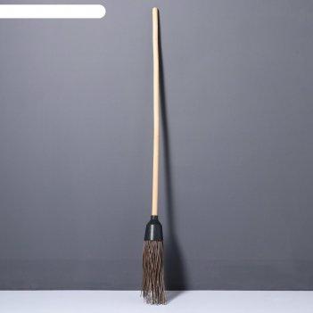 Метла деревянная, 140 см, 3 фланца, массив бука
