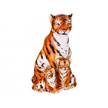 Декоративное изделие тигр с тигрятами 36*34см. высота=57см.