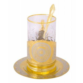 Набор чайный герб чеченской республики (тарель 140, подстаканн