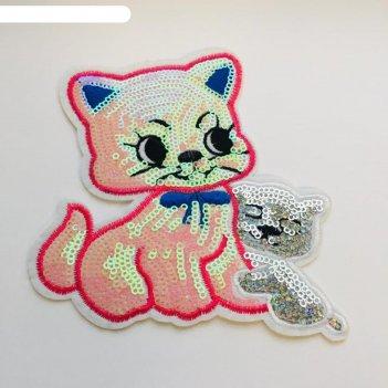 Аппликация «розовая кошка с котёнком», размер 12x11 см