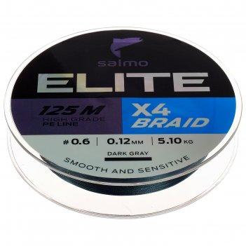 Леска  плетёная salmo elite х4 braid dark gray 125 м, 0,12 мм