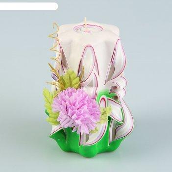 Свеча резная 10-11 см с 8 марта хризантема сиреневая
