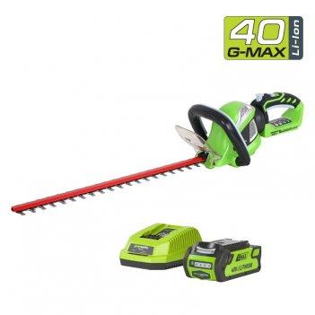 Кусторез аккумуляторный 60 см greenworks 40v g40ht61, с акб и зу, садовая