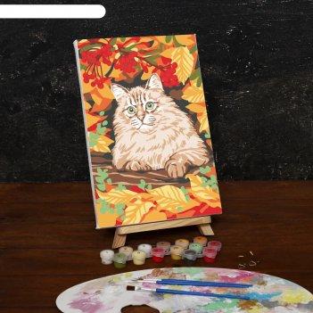 Картина по номерам на холсте кот в осеннем лесу, 30*20 см