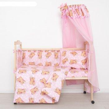 Комплект в кроватку спящие мишки (7 предметов), цвет розовый 715/1