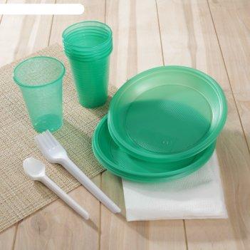 Набор премиум чайный: 6 стаканов 0,2 л, 6 тарелок, 6 чайных ложек, 6 вилок