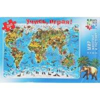 Карта-пазл мир-животные и растения 33х47 см, 260 элементов