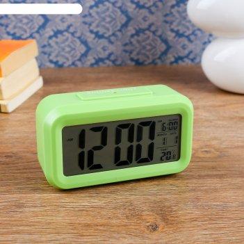 Часы-будильник настольные электронные прямоугольные, горизонтальные, микс,