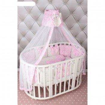 Комплект в кроватку premium элит, 18 предметов, бязь, розовый