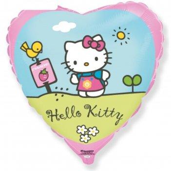 Шар фольгированный 18 сердце hello kitty. котенок в саду розовый, 1шт. в у