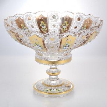 Фруктовница на ножке золото bohemia max crystal 35 см