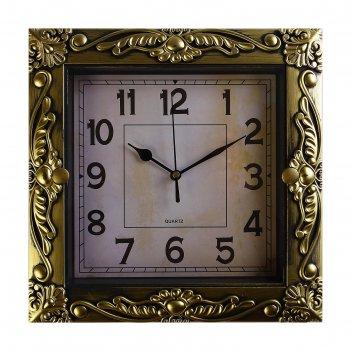 Часы настенные, серия: интерьер, мюзле, золотые, 26х26 см