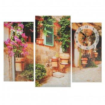 Часы настенные модульные «украшенный цветами дом», 60 x 80 см