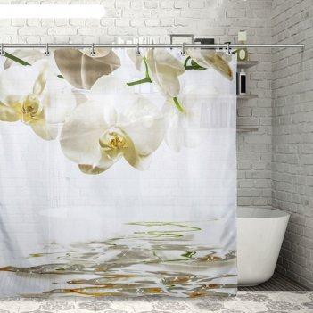 Штора для ванной орхидеи над водой, 180х200 см, полиэстер