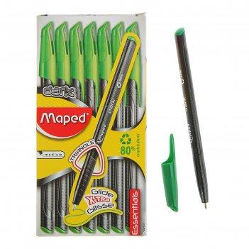 Ручка шариковая green dark, узел 0.6 мм, зелёнфе низкотекучие чёрнила, тре