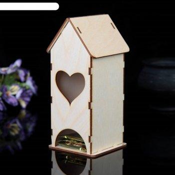 Заготовка для декупажа чайный домик с сердечком мини  9 х 9 х 22 см