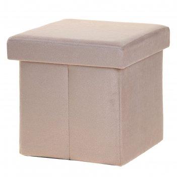 Пуф-куб с нишей для хранения, 38х38х38 меб.ткань цв.серый микс