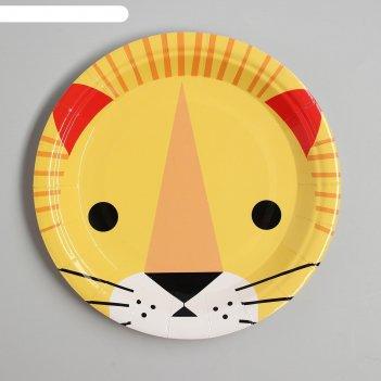 Тарелка бумажная «лев», набор 6 шт.