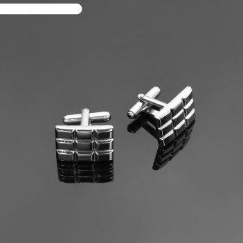 Запонки прямоугольник, плитка, цвет серебряный