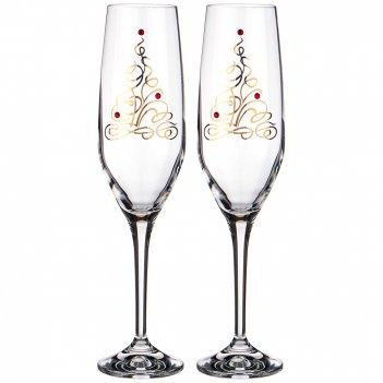 Набор бокалов для шампанского 190 мл из 2 штук стразы
