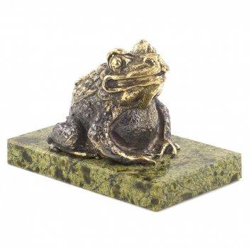 Статуэтка жаба змеевик бронза 70х45х50 мм 250 гр.