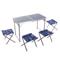 Набор: стол пласт и 4 стула, цвет синий сст-к2