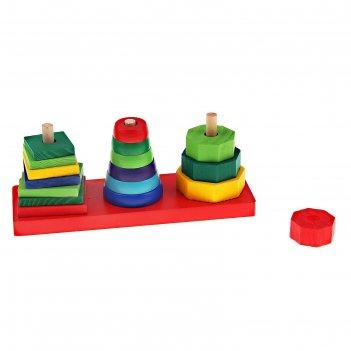 Пирамидка, фигуры на основании, 3 шт, (квадрат, круг, многоугольник)